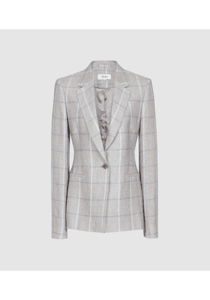 Reiss Willow Jacket - Checked Tailored Blazer in Grey, Womens, Size 4