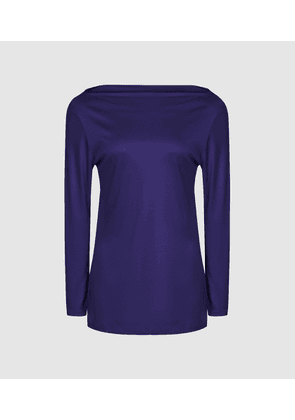 Reiss Marilyn - Straight Neck Top in Bright Blue, Womens, Size M