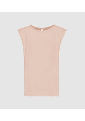 Reiss Noah - Embroidered Detail Sleeveless Top in Pink, Womens, Size 6