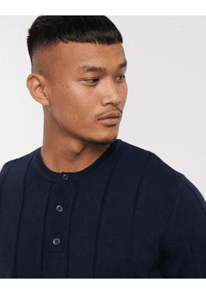 ASOS DESIGN knitted wide rib jumper with grandad neck in navy