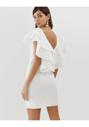 ASOS DESIGN open back mini dress with double ruffle-Cream
