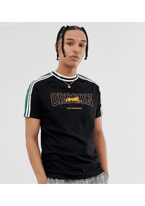 ASOS DESIGN Tall relaxed fit t-shirt with chest placement print and sleeve stripe-Black