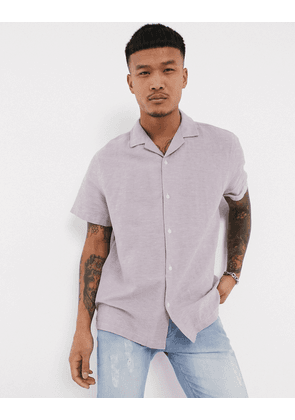 ASOS DESIGN relaxed fit linen shirt with revere collar in lilac-Purple