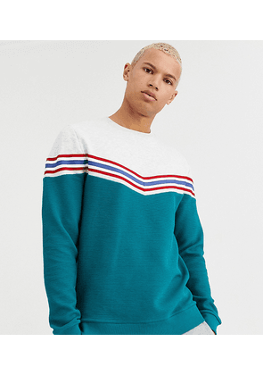 ASOS DESIGN Tall sweatshirt with chevron colour block in ribbed fabric-Green
