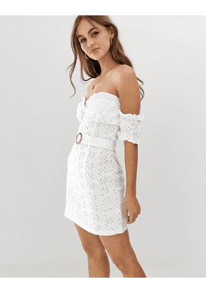 ASOS DESIGN bardot mini broderie sundress with faux tortoiseshell belt-White