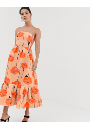 ASOS DESIGN poppy printed bandeau midi dress with ruffle pep hem-Multi