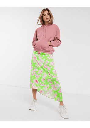 ASOS DESIGN asymmetric high shine satin midi skirt in green floral print-Multi