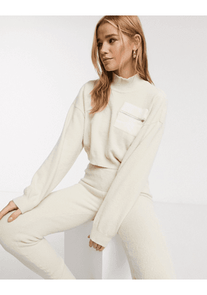 ASOS DESIGN Lounge co ord fluffy jumper with contrast pocket-Cream