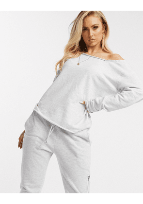 ASOS DESIGN lounge off shoulder sweatshirt with raw edge in ice marl-White