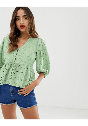 ASOS DESIGN tea blouse in broderie with volume sleeve-Multi