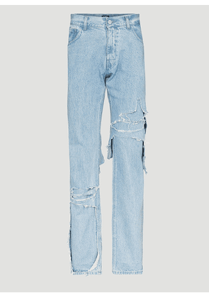 Raf Simons Destroyed Double Layered Jeans in Blue size 26
