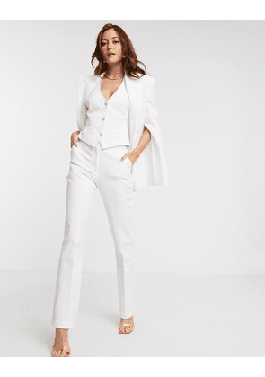 ASOS DESIGN tapered 3 piece suit trousers in texture-White