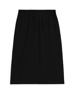 Straight-Fit Jersey Skirt - Black