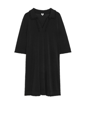 Frill-Detail Knitted Dress - Black