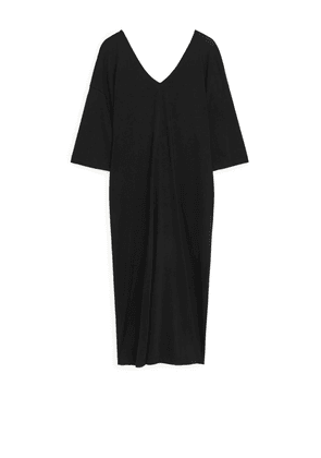 Twist-Detail Kaftan Dress - Black