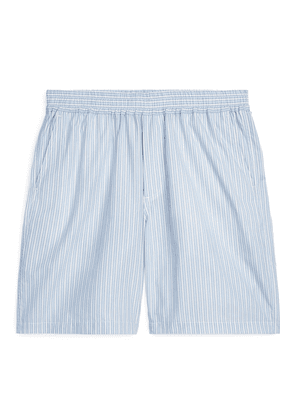 Loose-Fit Striped Shorts - Blue
