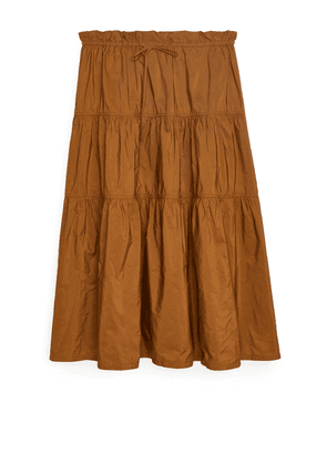 Ruched Taffeta Skirt - Yellow