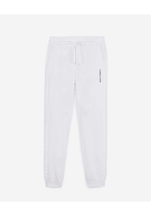 The Kooples - White joggers in fleece with lace trim - WOMEN
