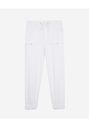 The Kooples - White military-effect trousers in cotton - WOMEN