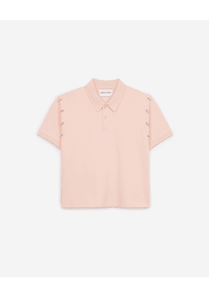 The Kooples - Pink cotton polo with piercings - WOMEN