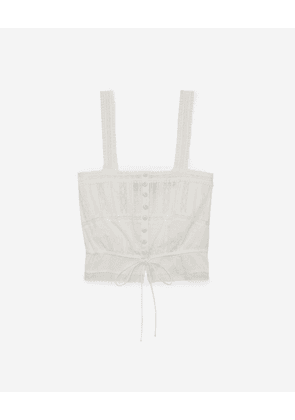 The Kooples - Ecru embroidered cotton top with tie - WOMEN