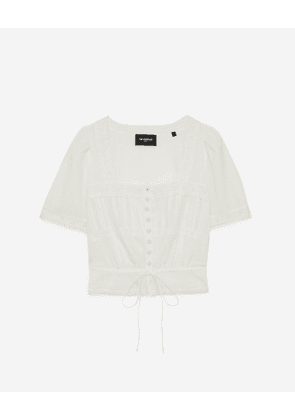 The Kooples - Ecru cotton crop top with embroidery - WOMEN