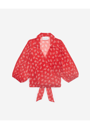 The Kooples - Printed red wrap top with logo trim - WOMEN