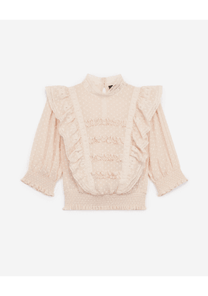 The Kooples - Frilly light pink top with smocked waist - WOMEN