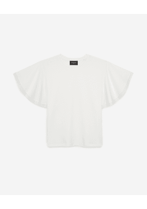 The Kooples - Ecru cotton T-shirt with lace sleeves - WOMEN