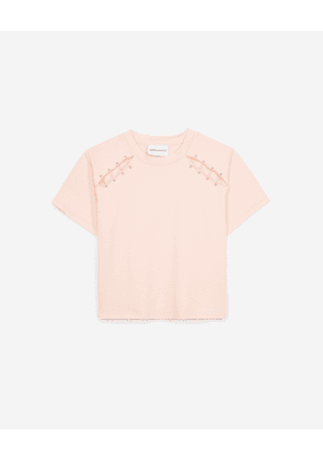 The Kooples - Light pink cotton T-shirt with piercing - WOMEN