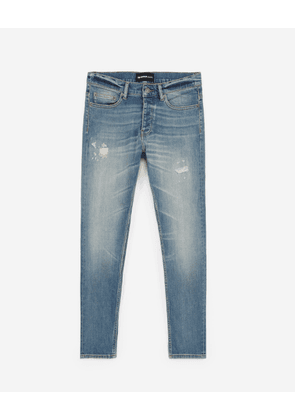 The Kooples - Faded slim-fit ripped blue jeans in cotton - MEN
