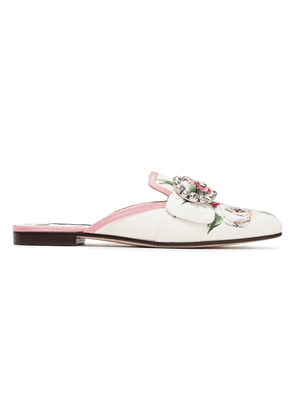Dolce & Gabbana Embellished Floral-print Cady Mules Woman White Size 35.5