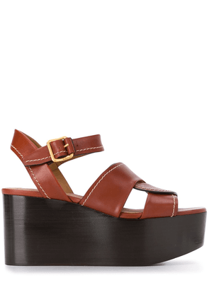 Chloé buckled platform sandals - Brown