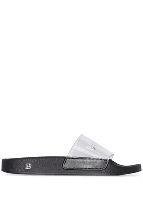 Balmain logo-print slide sandals - Black