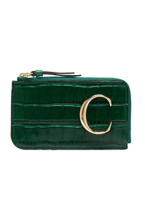 Chloé C plaque crocodile-effect coin purse - Green