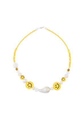 Wald Berlin faux-pearl beaded smiley necklace - White