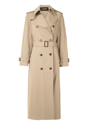 Dolce & Gabbana double-breasted long trench coat - NEUTRALS