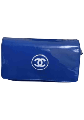Chanel wallet on chain blue patent leather handbag