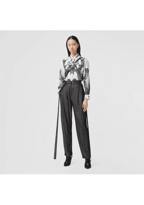 Burberry Strap Detail Chiffon and Jersey Tailored Trousers, Black