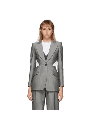 Alexander McQueen Grey Cut-Out Blazer