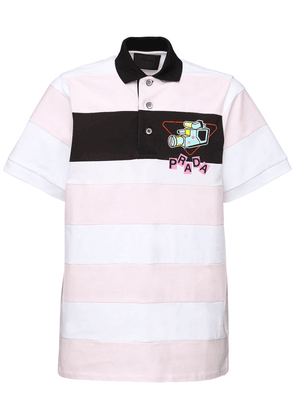 Logo Print Long Striped Polo Shirt