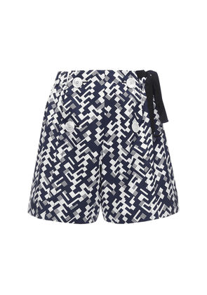 Geometric Print Cotton Poplin Shorts