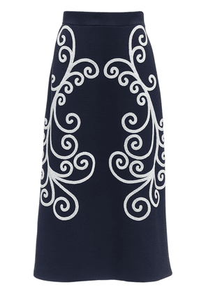 Embroidered Wool Pencil Skirt