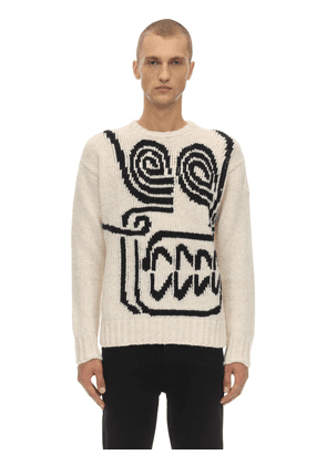 Intarsia Skull Alpaca Blend Knit Sweater
