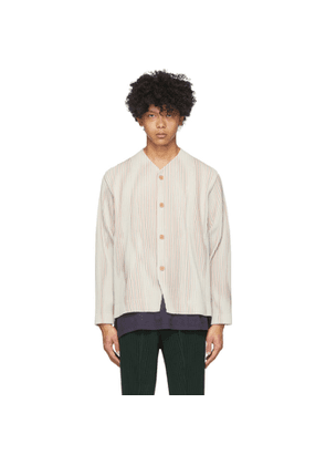 Homme Plisse Issey Miyake Off-White and Red Striped Tailored Line Jacket