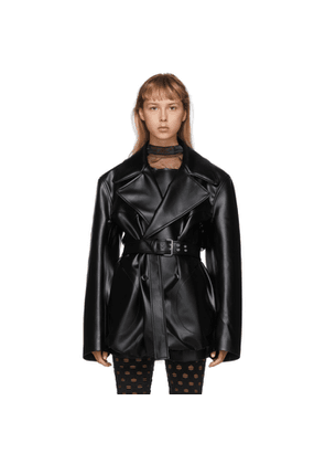 Maison Margiela Black Faux-Leather Blazer