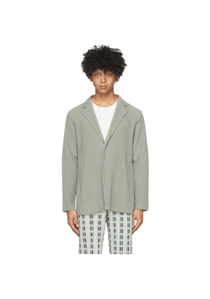 Homme Plisse Issey Miyake Grey Pleated Tailored Blazer