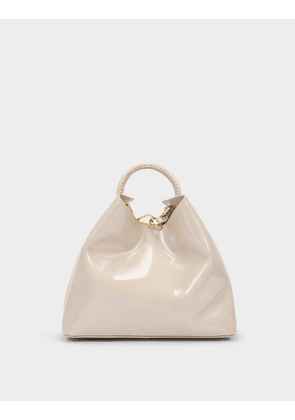 Raisin Bag in Beige Mirror Leather