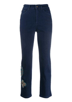 Mr & Mrs Italy embroidered skinny trousers - Blue