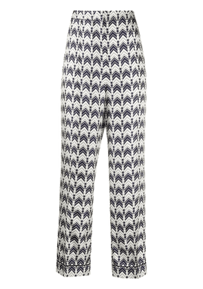 Prada patterned straight leg trousers - Blue